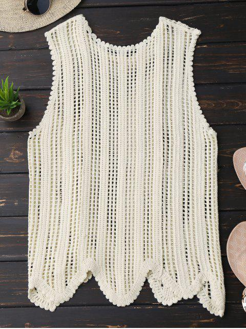 trendy Scalloped Crochet Tank Top - OFF-WHITE ONE SIZE Mobile