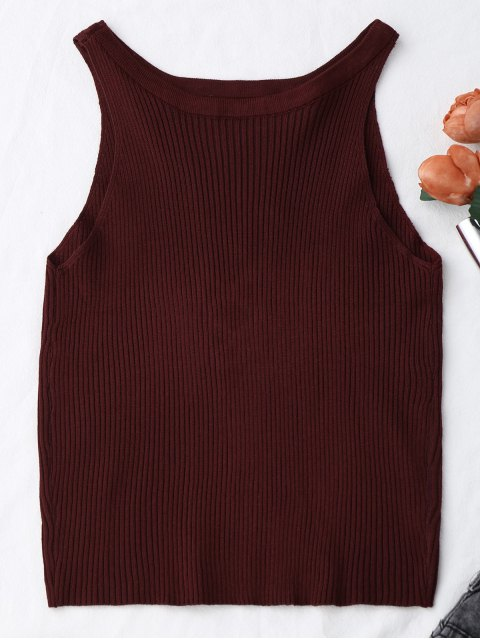 women Knitting Ribbed Cut Out Tank Top - WINE RED ONE SIZE Mobile