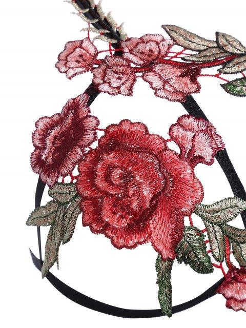 shops Caged Floral Applique Lingeries Bra - BLACK S Mobile