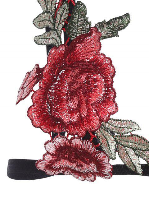 Brassière à bretelle avec décoration floral - Noir S Mobile
