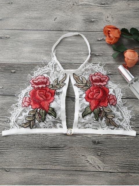 buy Floral Applique Keyhole Lace Bra - WHITE L Mobile