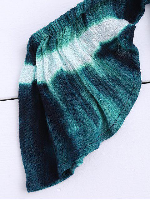 Top court à épaules tombantes à couleur Tie Dye et shorts - Vert Foncé S Mobile
