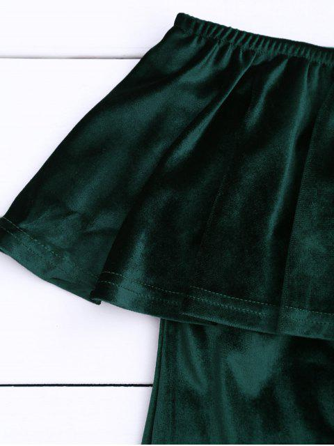 Robe de velours à épaulettes épaule - Vert Foncé S Mobile