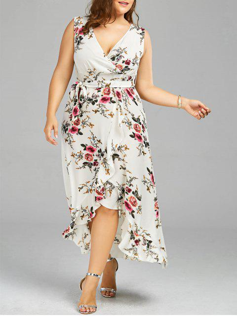 trendy Plus Size Tiny Floral Overlap Flounced Flowy Beach Dress - WHITE XL Mobile