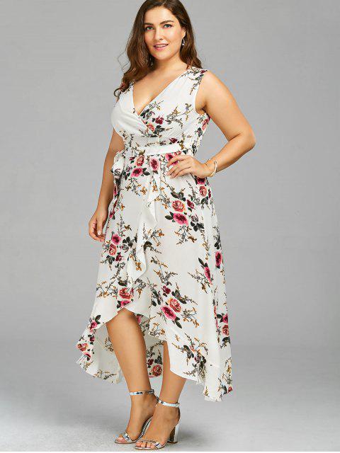 Robe d'enveloppe à grande taille imprimée de motif floral avec embellissement de falbalas - Blanc 3XL Mobile