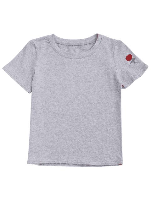 trendy Short Sleeve Rose Embroidered T-Shirt - GRAY M Mobile
