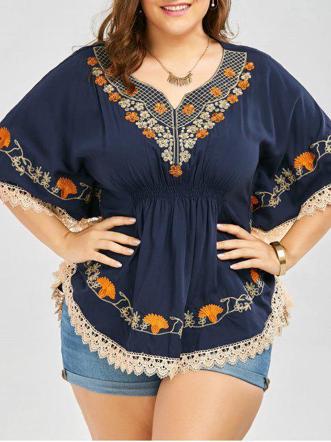 Plus Size gestickte Spitze Trim Kimono Bluse - Schwarzblau 4XL Mobile