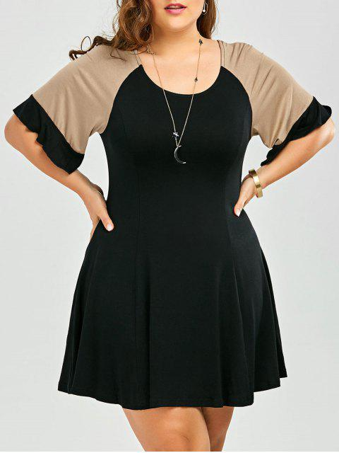 Une robe de couleur de ligne de taille supérieure - Noir 4XL Mobile