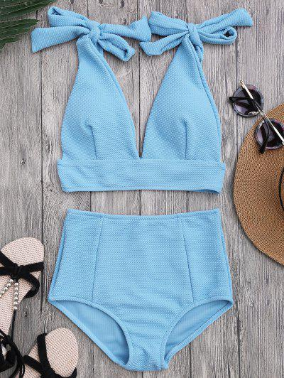 Tied Plunging Neck High Waisted Bikini - Azure M