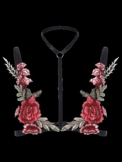 Floral Applique Bondage Bra