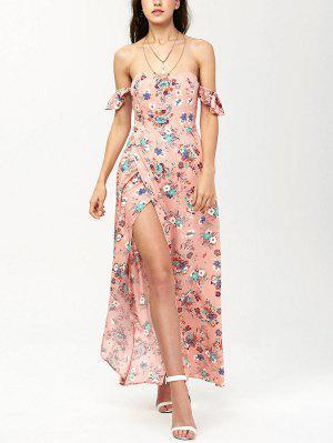 Off The Shoulder Maxi Floral Slit Dress - Orangepink S