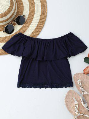 Off Shoulder Ruffle Lace Crop Top - Purplish Blue S