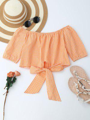 Off Shoulder Plaid Knot Hem Crop Top - Orange S