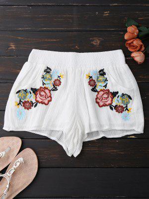 Pantalones Bordados Florales Bordados - Blanco M