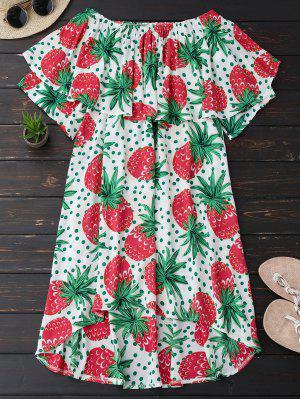 Ruffle Off Shoulder Pineapple Dress - Plum Xl