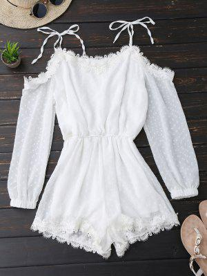 Lace Trim Tie Shoulder Romper With Dot - White S