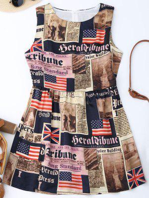 Sleeveless American Flag Patriotic Dress - M