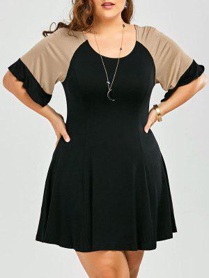 A Line Color Block Plus Size Dress