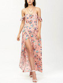 Off The Shoulder Maxi Floral Slit Dress - Orangepink S