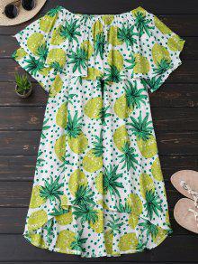 Ruffle Off Shoulder Pineapple Dress - Bluish Yellow M