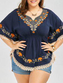 Plus Size Bordado Encaje Bordado Kimono Blusa - Azul Purpúreo 5xl