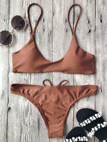Spaghetti Straps Padded Bikini Set - Dark Auburn S