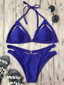 Rings Cutout Caged Bikini Top And Bottoms - Blue M