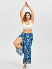 d55a66ccc66 60% OFF  2019 Plus Size Tie Dye Slit Palazzo Dressy Pants In BLUE ...