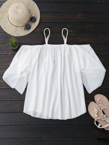 Cami Cold Shoulder Asymmetric Sleeve Top - White L