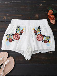 Lined Floral Embroidered Shorts - White S