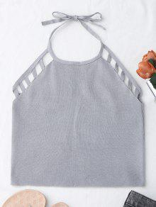Halter Knitting Cut Out Tank Top - Gris