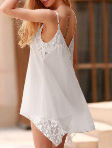 Vestido De Encaje Color Sólido Empalmado Los Tirantes De Espagueti - Blanco L