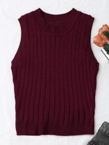 Knitting Mock Neck Tank Top - Wine Red