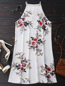 Floral High Neck A-Line Dress - Floral L