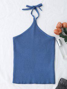 Buy Halter Knitting Ribbed Tank Top - BLUE ONE SIZE