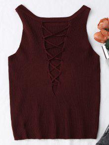 Tricotar Acanalado Recortado Tank Top - Vino Rojo