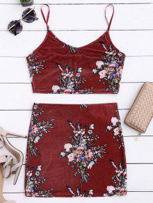Velvet Floral Crop Top Y Bodycon Falda - Burdeos S