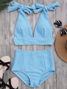 Bikini Con Cintura Alta Con Cuello En V Con Nudos - Azur S