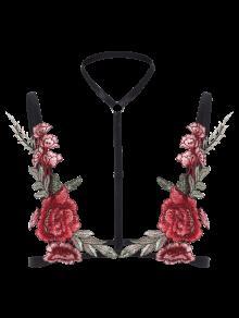 Brassière à Bretelle Avec Décoration Floral - Noir S