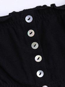 De Aire Botones Hombros Blusa Con Negro Al Corta 85xBqqSwp