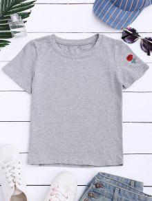 T-shirt Manches Courtes Bordé Rose - Gris M