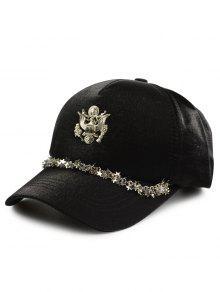 شعار معدني محفور نجوم رابط قبعة البيسبول - أسود