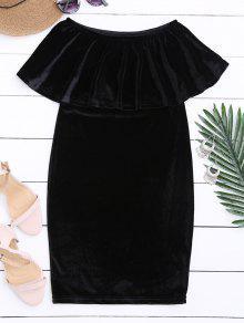 Buy Shoulder Ruffle Velvet Dress - BLACK M