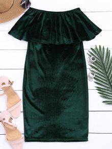 Off The Shoulder Ruffle Velvet Dress - Blackish Green M