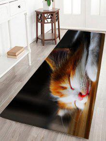 النوم القط طباعة الفانيلا سكيدبروف الحمام البساط - أسود W24 بوصة * L31.5 بوصة