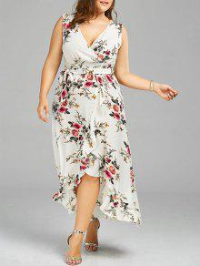 Plus Size Tiny Floral Overlap Flounced Flowy Beach Dress - White Xl