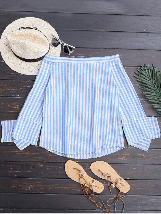 womens Slit Sleeve Off Shoulder Striped Top - BLUE STRIPE M