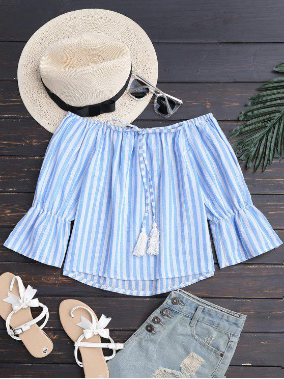 ladies Tie Front Off Shoulder Striped Top - BLUE STRIPE S