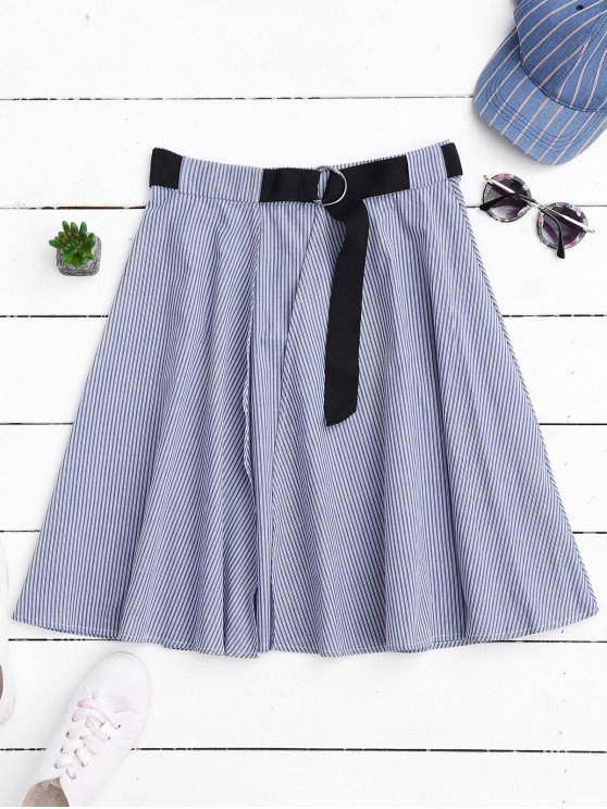 affordable Belted Wrap Layered A-Line Skirt - STRIPE S