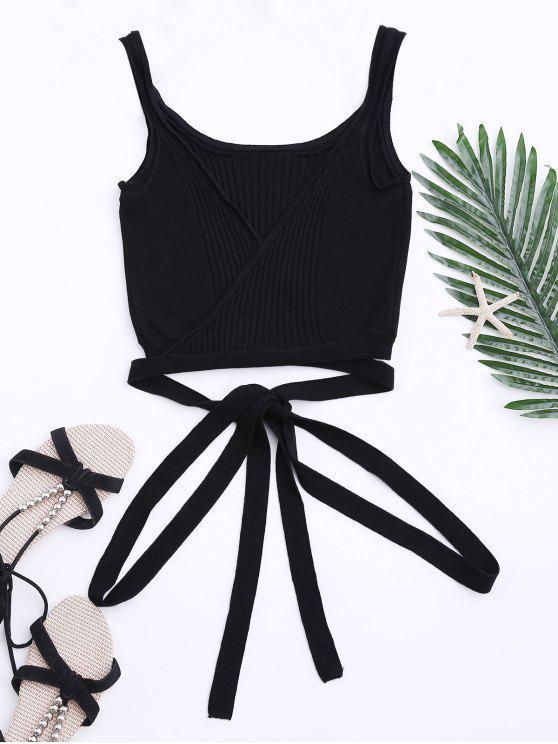 lady Knit Wrap Crop Tank Top - BLACK M